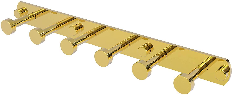 Allied Brass FR-20-6 Fresno Collection 6 Position Tie and Belt Rack Decorative Hook, Polished Brass