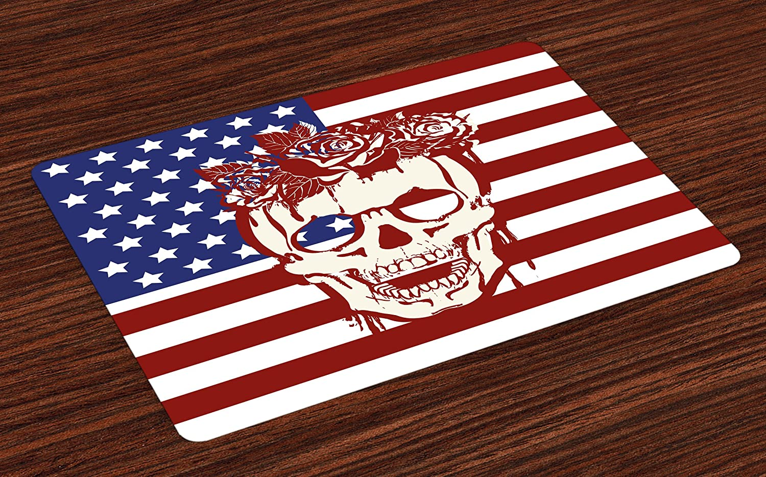 Ambesonne Skull Place Mats Set of 4, Dead Human Head with a Floral Wreath USA American Stars Humor Illustration, Washable Fabric Placemats for Dining Room Kitchen Table Decor, Red White