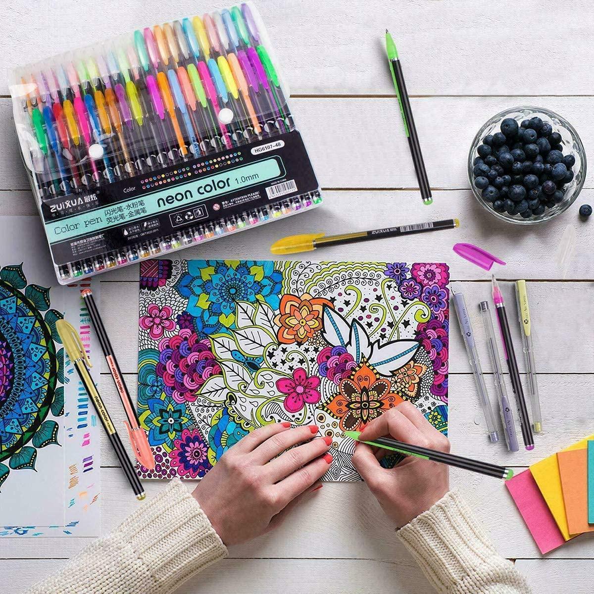 hongxinq hongxinq 48pcs Colors Gel Pens Set Metallic Pastel Glitter Neon Marker Pen