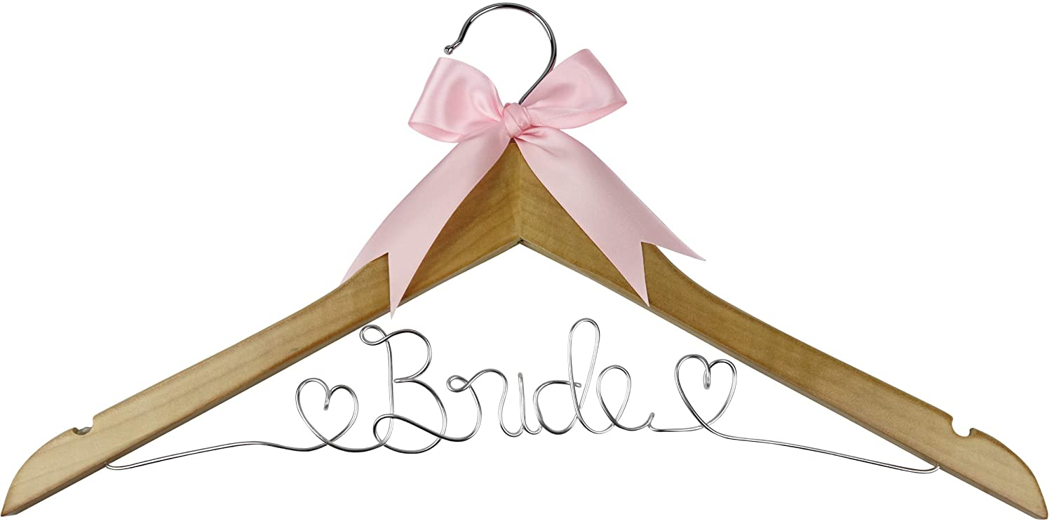 Your Dream Party Shop Bride Wedding Dress Hanger, Bridal Dress Hanger with Bride Wire for Wedding Gown in Natural Wood Color for The Bride on her Wedding or Bridal Shower! (Natural Wood)