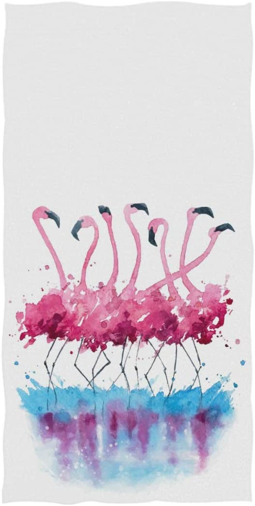 Naanle Stylish Flamingos Watercolor Painting Splash Print Soft Guest Hand Towels Multipurpose for Bathroom, Hotel, Gym and Spa (16