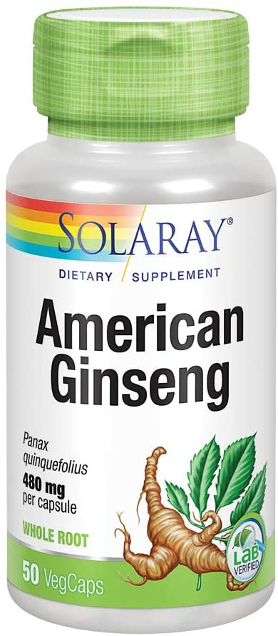 Solaray American Ginseng 480 mg | Adaptogenic Herb | Healthy Stress, Energy & Physical Endurance Support | 50 VegCaps