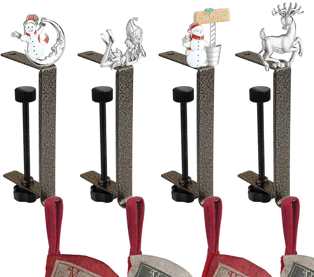 KUZOO Christmas Stocking Holder Adjustable Height for Mantle 4 Pack Anti-Gold