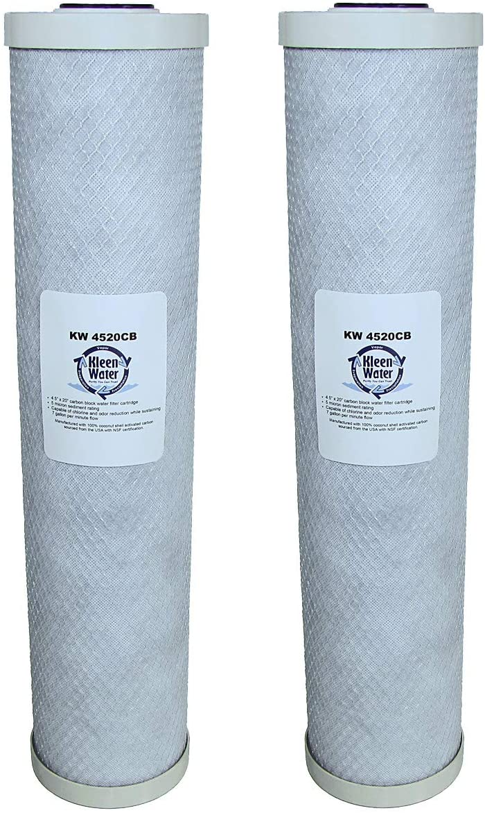 KleenWater Pentek EP20-BB Compatible Water Filters, 4.5 x 20 Inch Carbon Block Replacement Cartridges (2) with Genuine Can Holders (2)