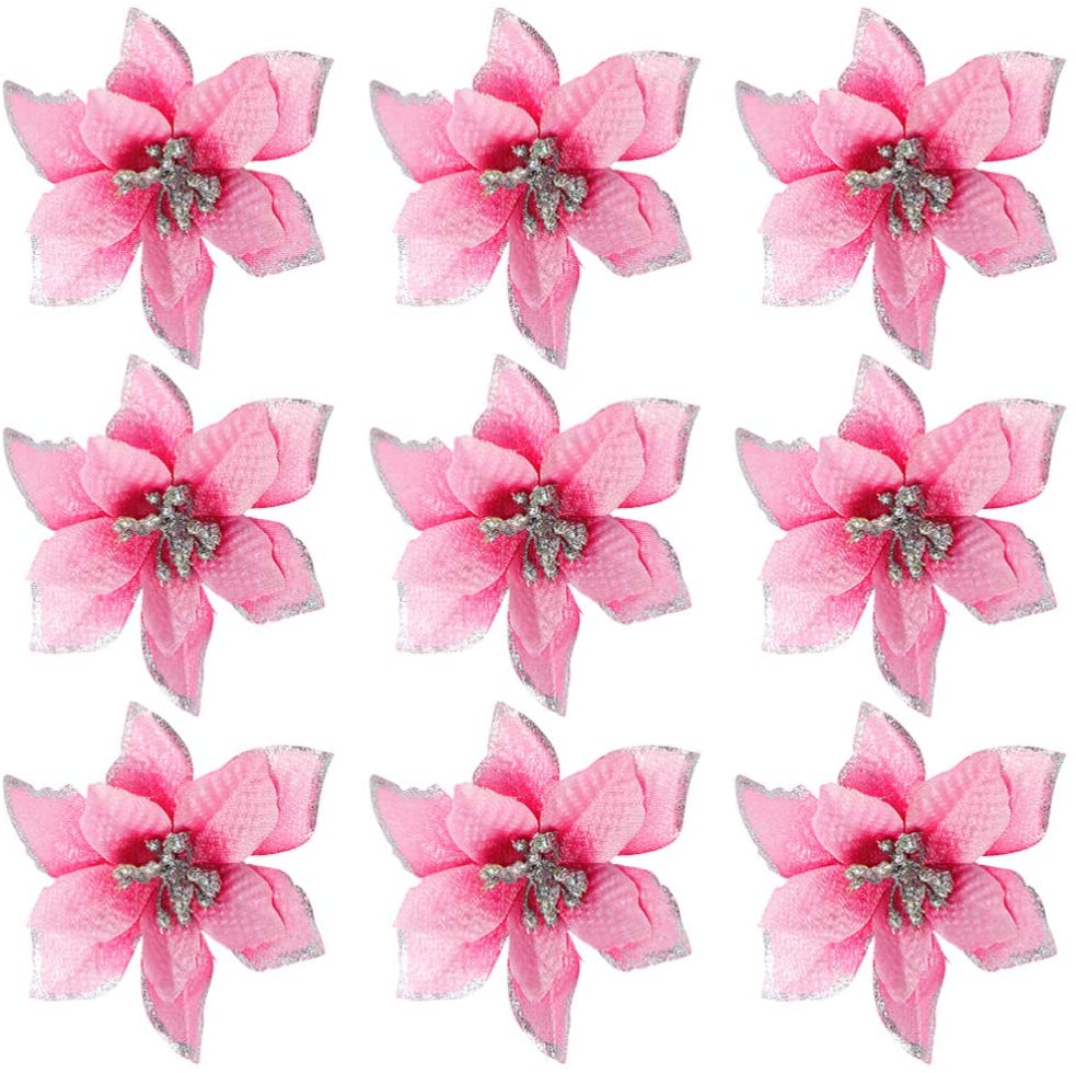 NUOBESTY Glitter Poinsettia Artificial Flowers Christmas Tree Flowers for Xmas Tree Decorations,36 Pieces (Pink)