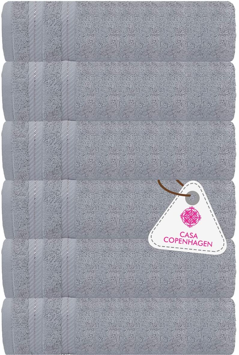 CASA COPENHAGEN Denmark Soft Linen Premium Cotton, 6 Piece Hand Towel Set [Worth $72.95] -