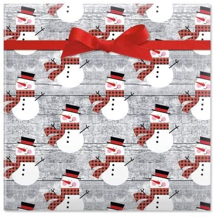 Rustic Plaid Snowman Christmas Rolled Gift Wrap - 1 Giant Roll, 23 Inches x 35 Feet (67 Square Feet Total), Heavyweight, Tear-Resistant, Holiday Wrapping Paper