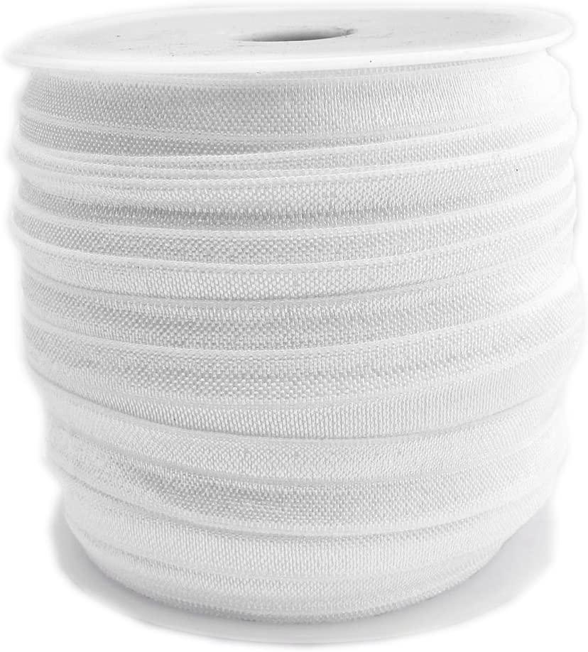50 Yards Spool Wedding White 5/8 Ribbon Elastic Foldover Elastics Stretch Hair Ties Headbands for Baby Girls Hair Bow