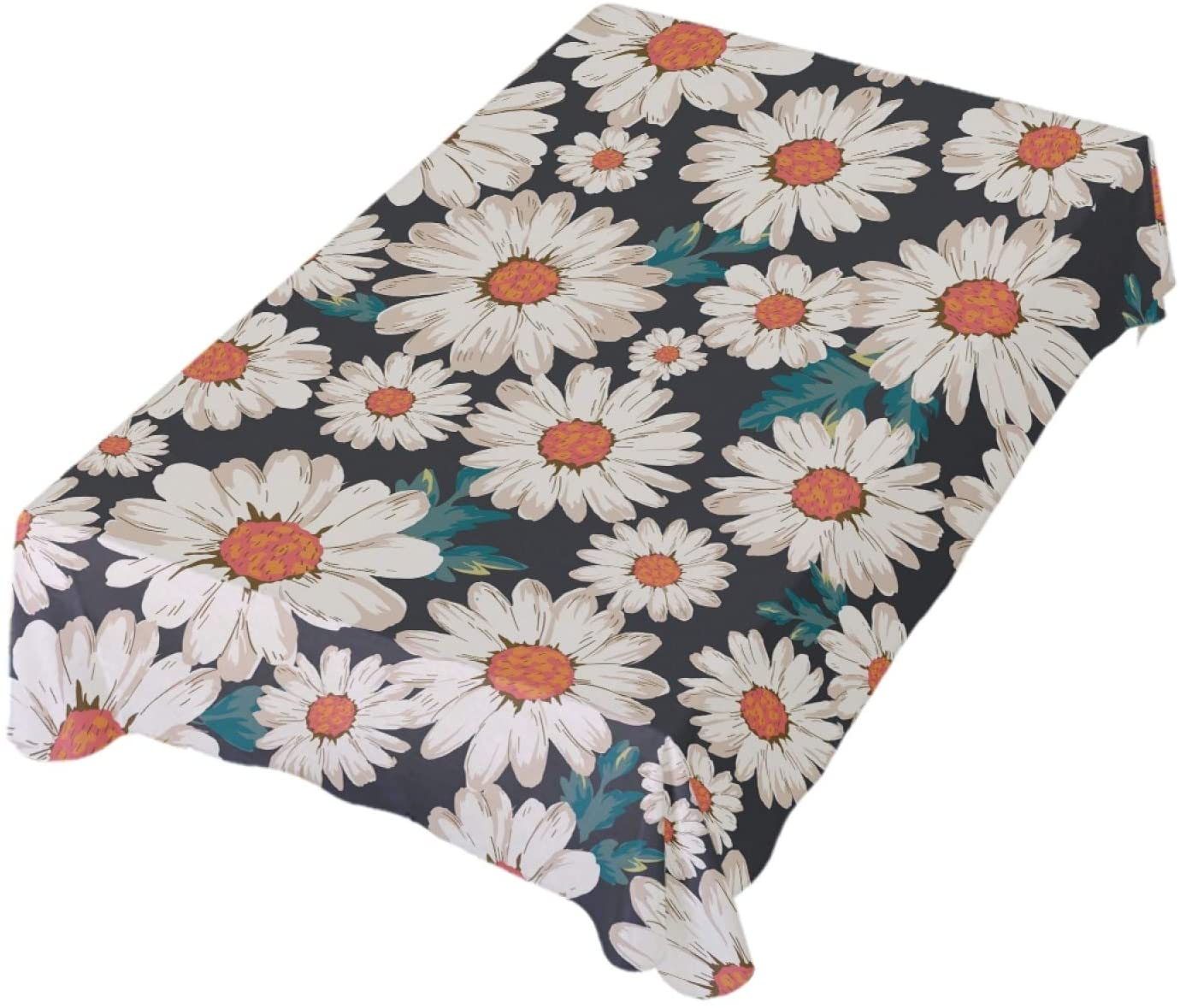 ALAZA Floral Daisy Table Cloth Square 54 x 54 Inch Tablecloth Anti Wrinkle Table Cover for Dining Kitchen Parties
