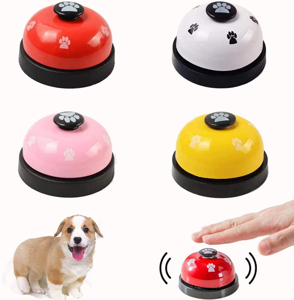 KesaPlan Dog Training Bell, Set of 4 Dog Puppy Pet Potty Training Bells, Dog Cat Door Bell Tell Bell with Non-Skid Rubber Base