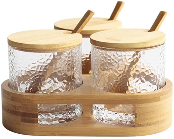 Condiment Set by NUTRIUPS- Spice Container Jars with Bamboo Lids And Spoons Glass Seasoning Box Set for Table