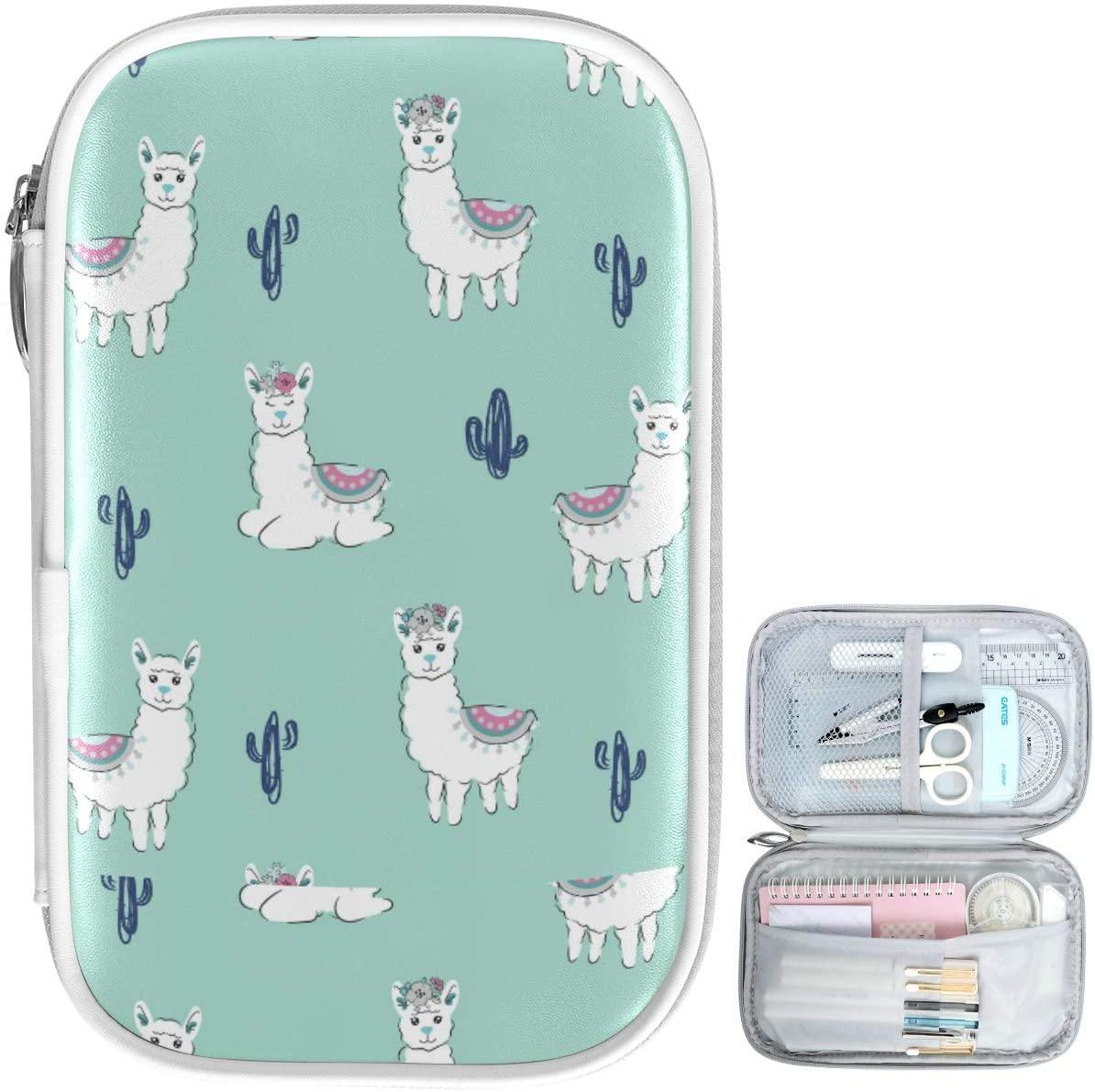 Oarencol Cute Llama Cactus Floral Pencil Case Animal Alpaca Flower Zipper Pen Bag Large Capacity Cosmetic Pouch Stationery Box