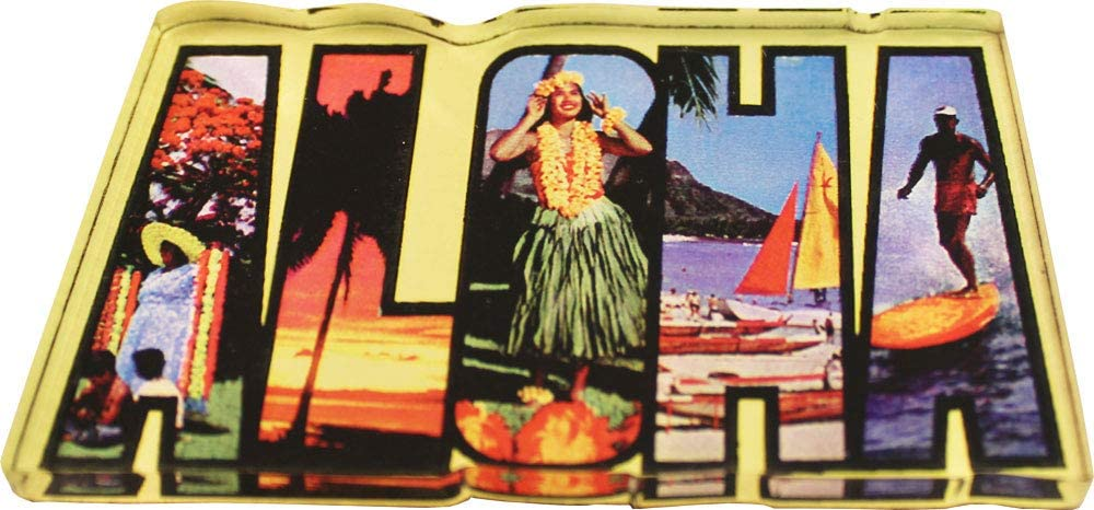 Flagline Hawaii - Postcard Aloha Hawaii Acrylic Magnet (3