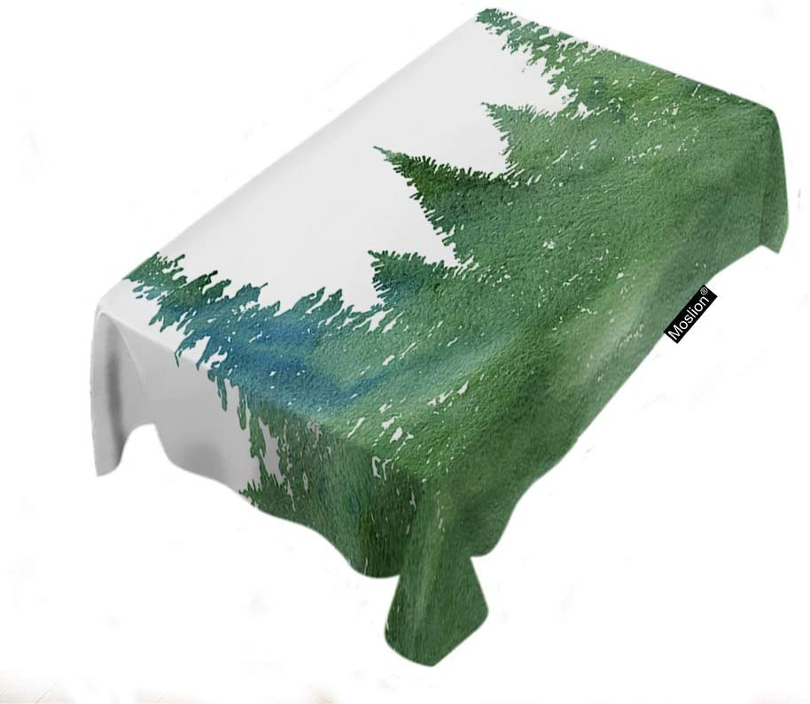 Moslion Fir Trees Tablecloth 60x90 Inch Watercolor Landscape Nature Forest Art Wood Abstract Grove Green Rectangle Tablecloth Picnic Tablecloth BBQ Table Cloths Polyester for Kitchen