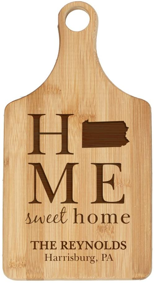 Personalized State Pride Bamboo Cutting Board - Pennsylvania, 7 W x 13.5 L, Engraved