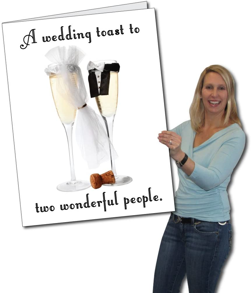 VictoryStore Jumbo Greeting Cards: Giant Wedding Card (Wedding Toast),  2' x 3' Card with Envelope