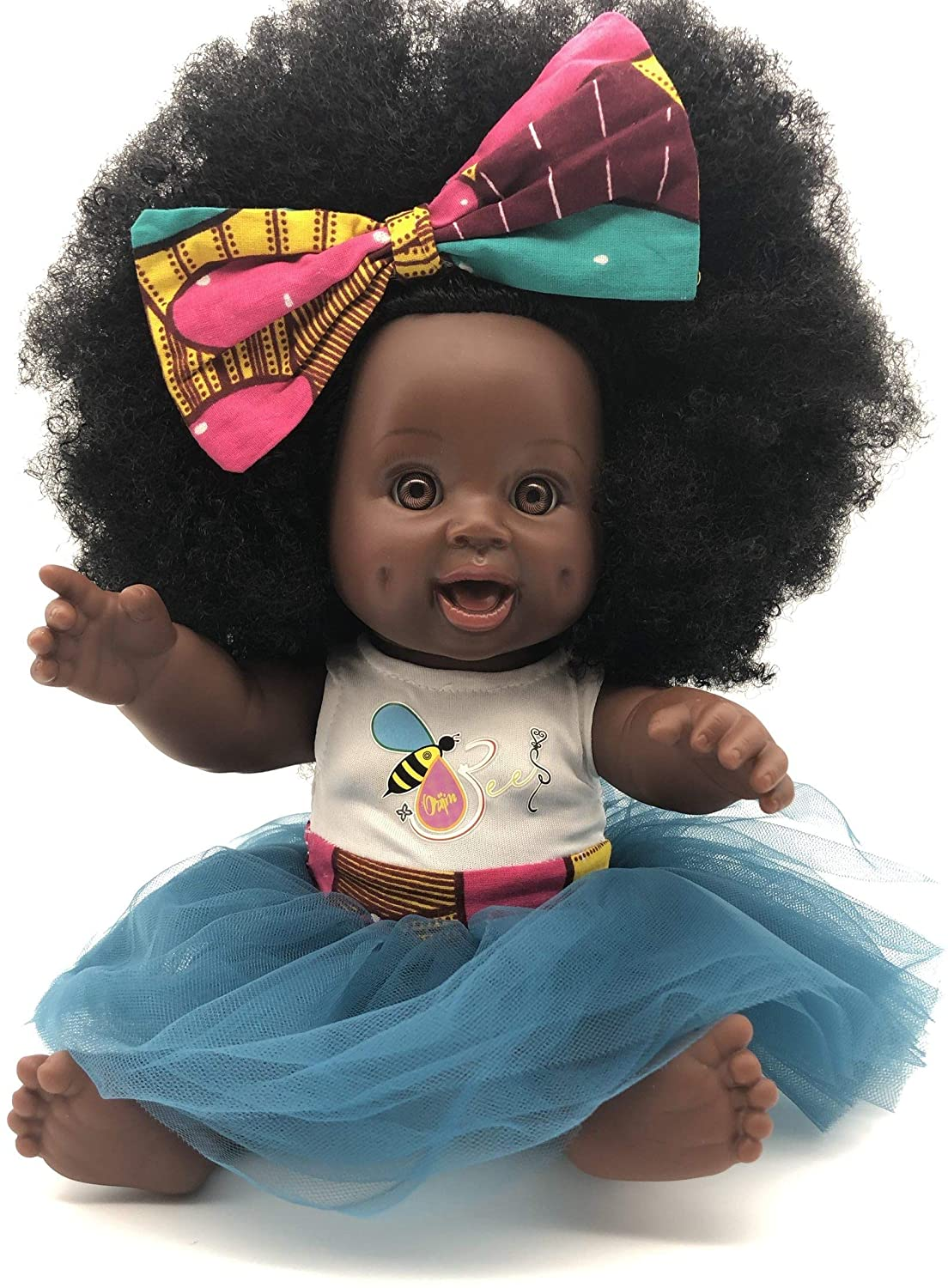 Orijin Bees Fro Love Bee - African American Doll, Black Doll, Latino Doll, Afro Doll, Baby Doll, Curly Hair Doll, Baby Doll, African Doll, Birthday Gift
