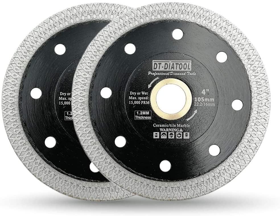 DT-DIATOOL Turbo Mesh Diamond Blade 2pcs 4 Inch with X Rim Segment for Tile Porcelain Ceramic