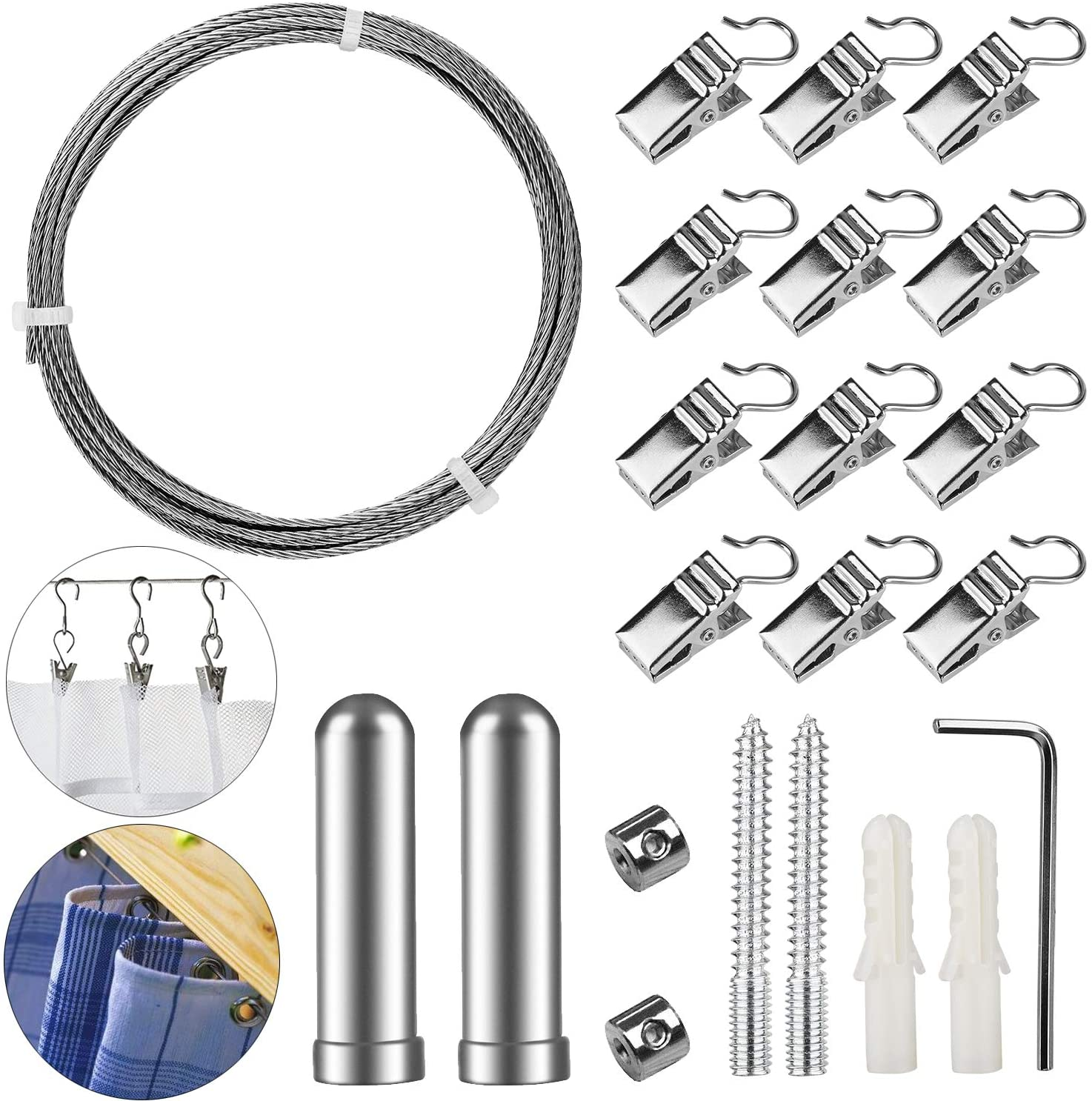 Pinowu Stainless Steel Curtain Drape Wire Rod Set with 12 Clips - Picture Hanging Wire Clothesline Wire Multi-Purpose Set Hang Photos, Notes, Art (3 Meter)
