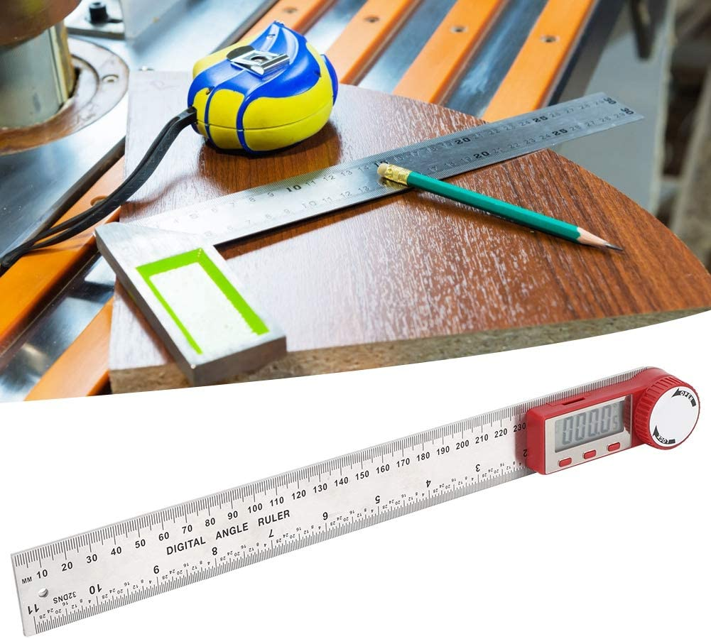 Angle Finder, Protractor Ruler, 360 Degree Angle Goniometer Electronic Ruler, for Length Measuring Measure Tool Angle Measuring with Fixing Screw(0-300mm)