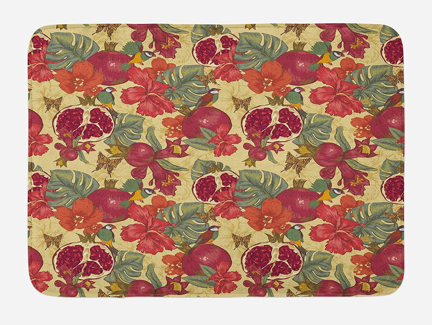 Ambesonne Red Bath Mat, Natural Tropical and Exotic Birds Butterflies Flowers and Pomegranate Illustration, Plush Bathroom Decor Mat with Non Slip Backing, 29.5 X 17.5, Red and Beige