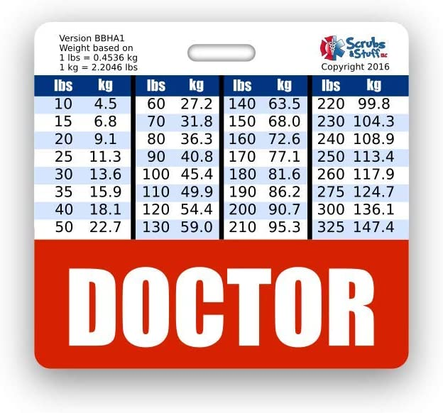 Doctor Badge Buddy Horizontal w/Height & Weight Conversion Charts (Standard, Red)