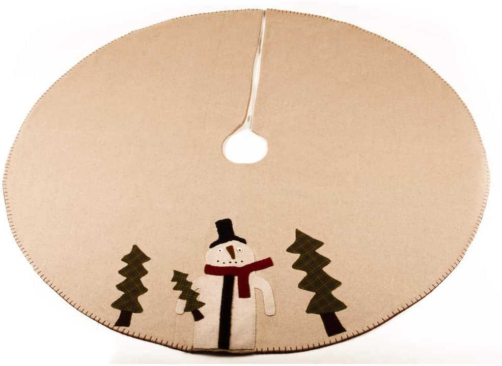 Home Collections by Raghu Nutmeg Primitive Snowman Tree Skirt