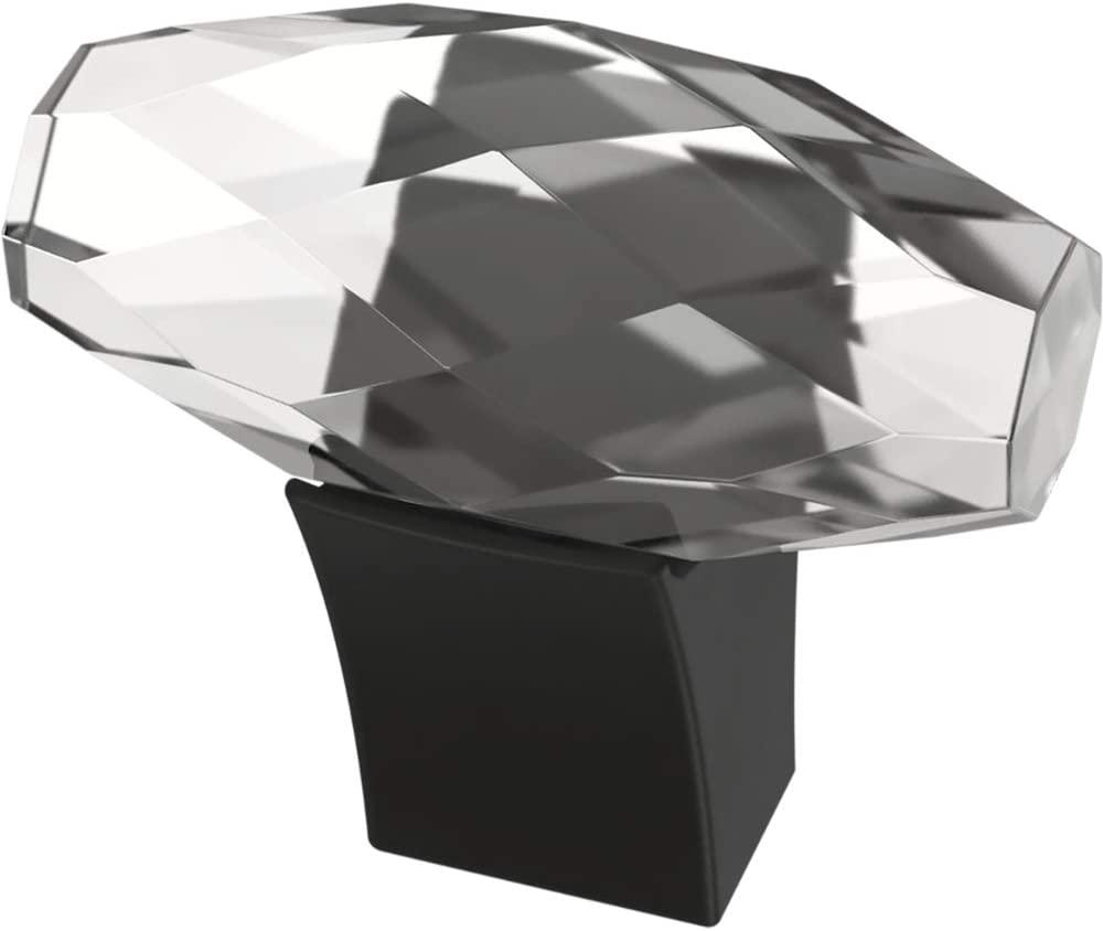 Franklin Brass P40857K-FB-C Cut Glass Oval Kitchen or Furniture Cabinet Hardware Drawer Handle Knob, 1-1/2-Inch (38mm), Flat Black, 4-Pack