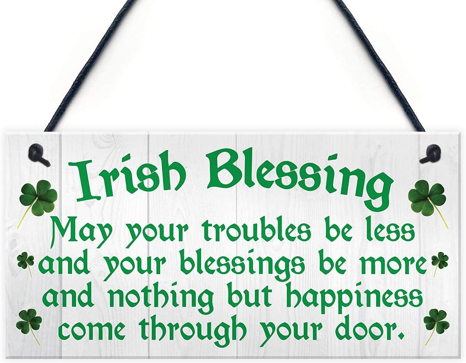 INNAPER Irish Blessing Happiness Friendship Wood Signs Gifts Plaque Home Decor Door Sign 12x6(49BW1998)