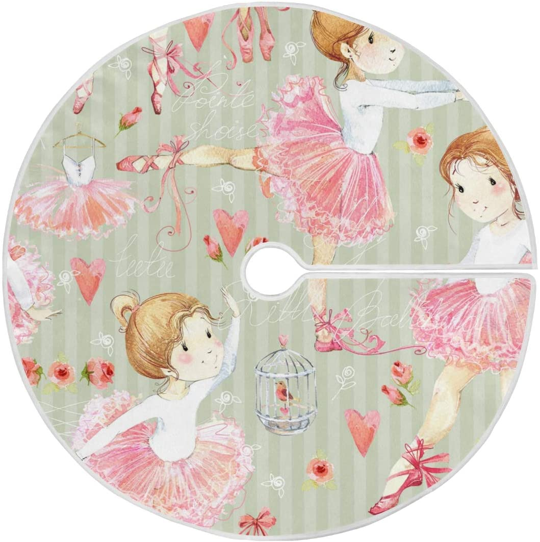 ALAZA Cute Little Ballerina Christmas Tree Skirt Ornament 48inch Diameter Christmas Decoration New Year Party Supply(915a3)