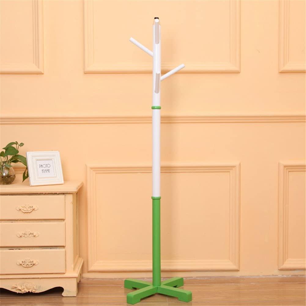Simonshop Kids Wooden Coat Rack Pencil Design Hat Scarf Hanger Rack 5 Hooks for Bedroom Living Room (Green)
