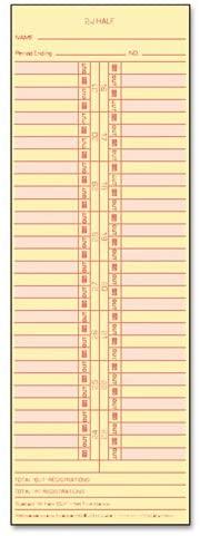 TOP1276 - Time Card for Cincinnati/Lathem/Simplex/Acroprint