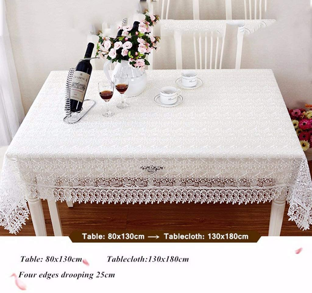 Makang New Lace Tablecloth Wedding Decoration Translucent Tablecloth Embroidery Tablecloth Coffee Table Cloth Home Table Decoration (Color : White, Size : 110x110cm)