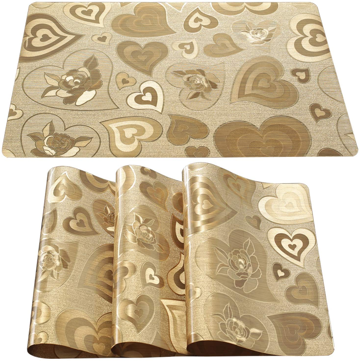 DUOFIRE Placemats for Dining Table Washable Vinyl Placemats PVC Dinner Table Mats Easy to Clean Non Slip Placemats for Holidays (Loving Heart:Gold-Set of 4)