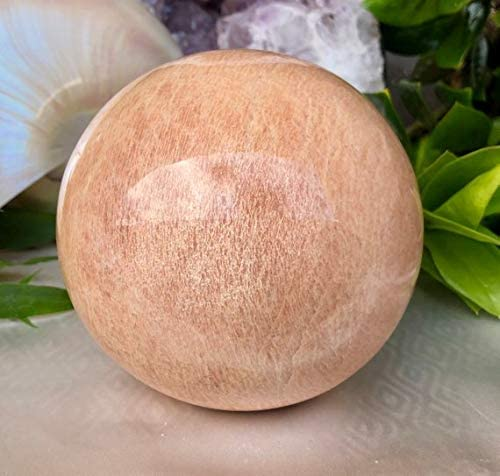 Spiritual Elementz Reiki Healing Peach Moonstone (Stone of Emotional Health) Gemstone Sphere Ball (40-50mm).