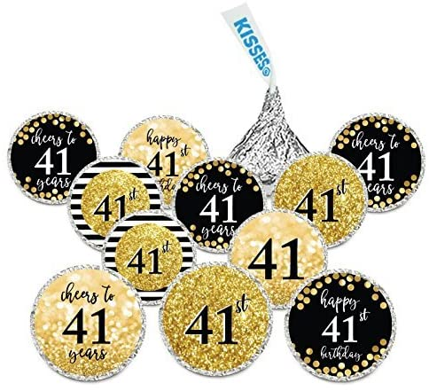 Andaz Press Personalized Glitzy Faux Gold Glitter Milestone Chocolate Drop Labels, Cheers to Custom Number, Custom Birthday or Anniversary, 240-Pack, Not Real Gold Glitter
