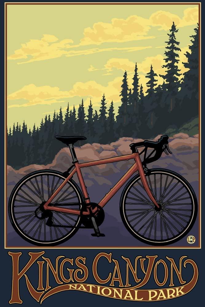 Kings Canyon National Park - Bike and Trail (12x18 Art Print, Wall Decor Travel Poster)