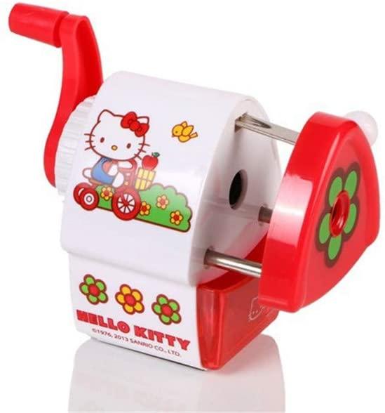 Hello kitty Pencil Sharpener Manual School Stationery Cartoon Safe Office Supply (Red)