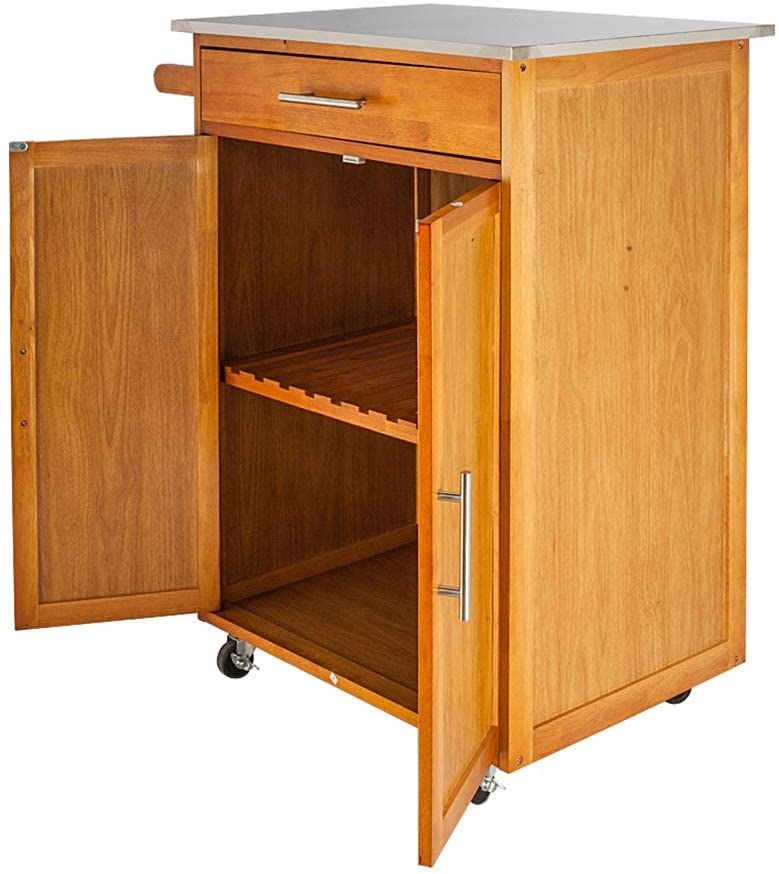 Moveable Multifunctional Utility Cart for Anywhere Kitchen Cart with Stainless Steel Table Top & One Drawer & One Cabinet Storage Cabinet with Doors Sapele