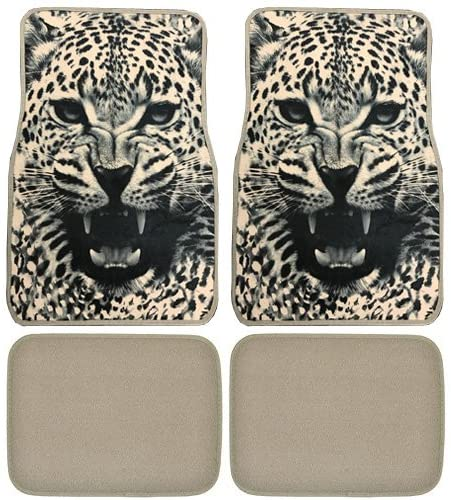 Snow White Leopard Custom Designed Car Truck SUV Universal-fit Front & Rear Seat Carpet Angry Animal Floor Mats - 4pc