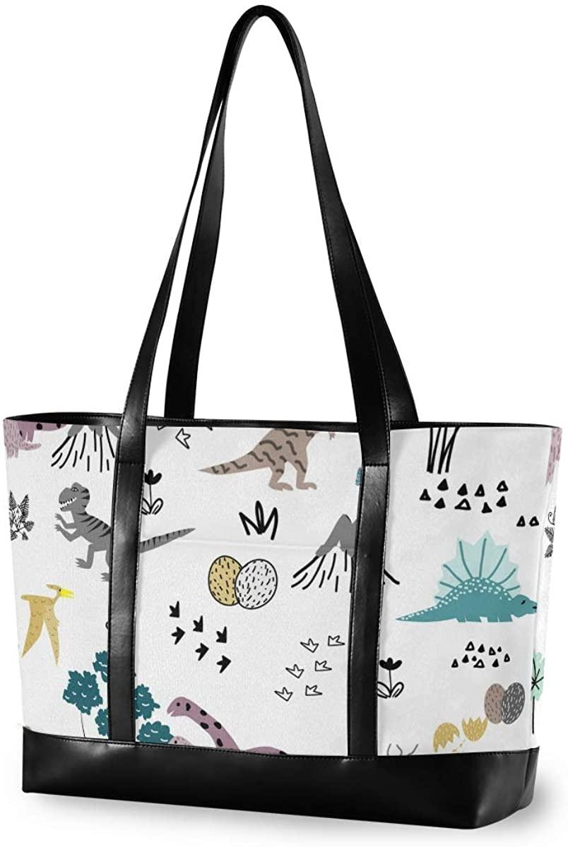 Dinosaur Pattern Laptop Tote Bag for Woman 15.6 inch Laptop Organizer Bag Teacher Work Purse(912b)
