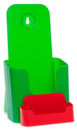 Source One 4 X 9 Inches Tri Fold Brochure Holder with Business Card Holder (40 Pack, Green & Red)