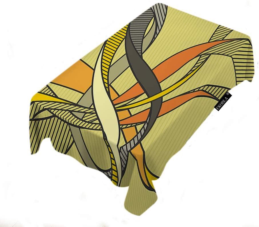 EKOBLA Tablecloth Abstract Art Vintage Retro Colorful Dynamic Curve Clip Art Creative Design Season Tablecloth for Fall Harvest Thanksgiving Christmas Wedding Anniversary 60x84 Inch