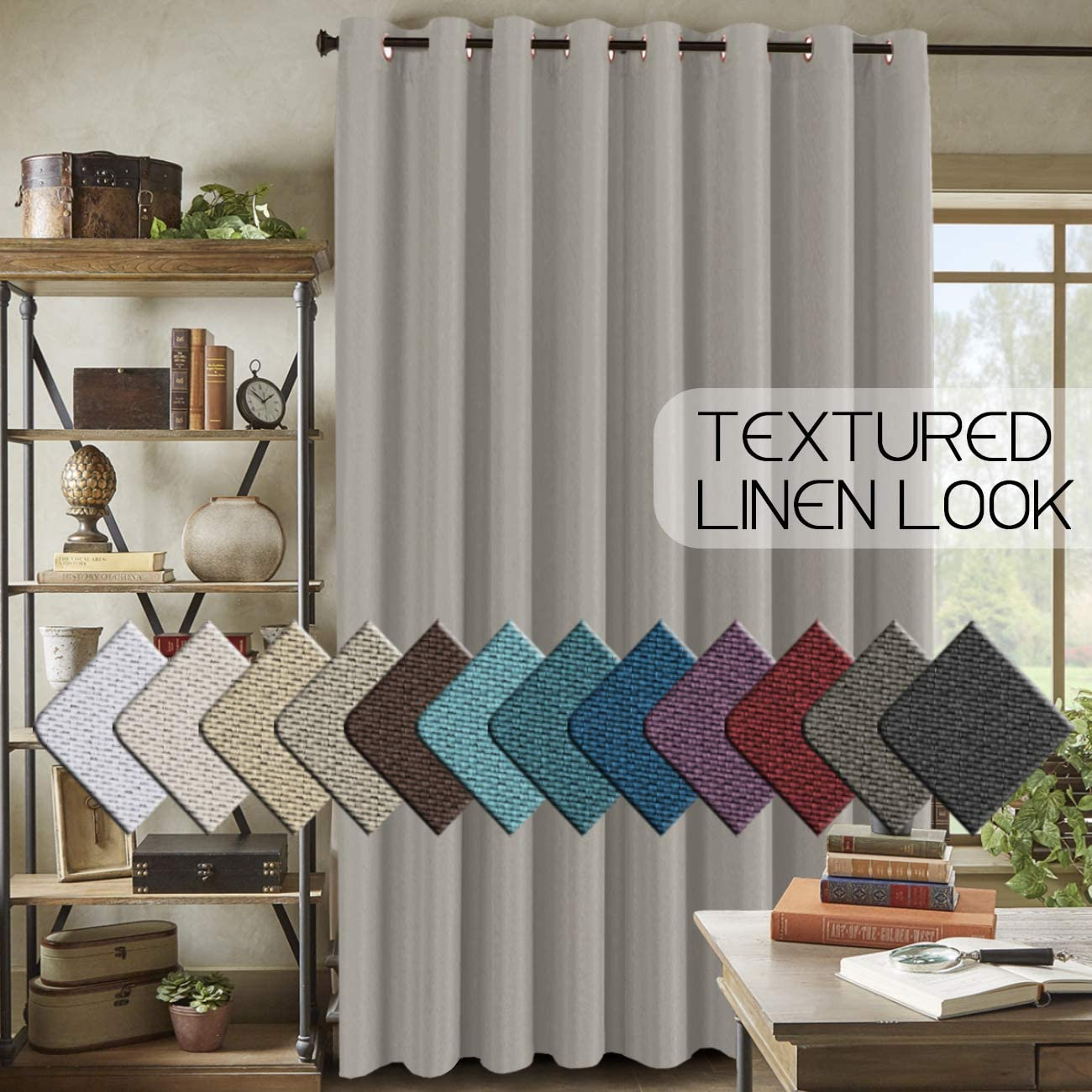 H.VERSAILTEX Room Darkening Linen Curtain for Bedroom / Living Room Extra Wide Blackout Curtains 100 x 96 Inches for Patio Glass Door, Primitive Textured Thick Linen Burlap Look Fabric, Taupe