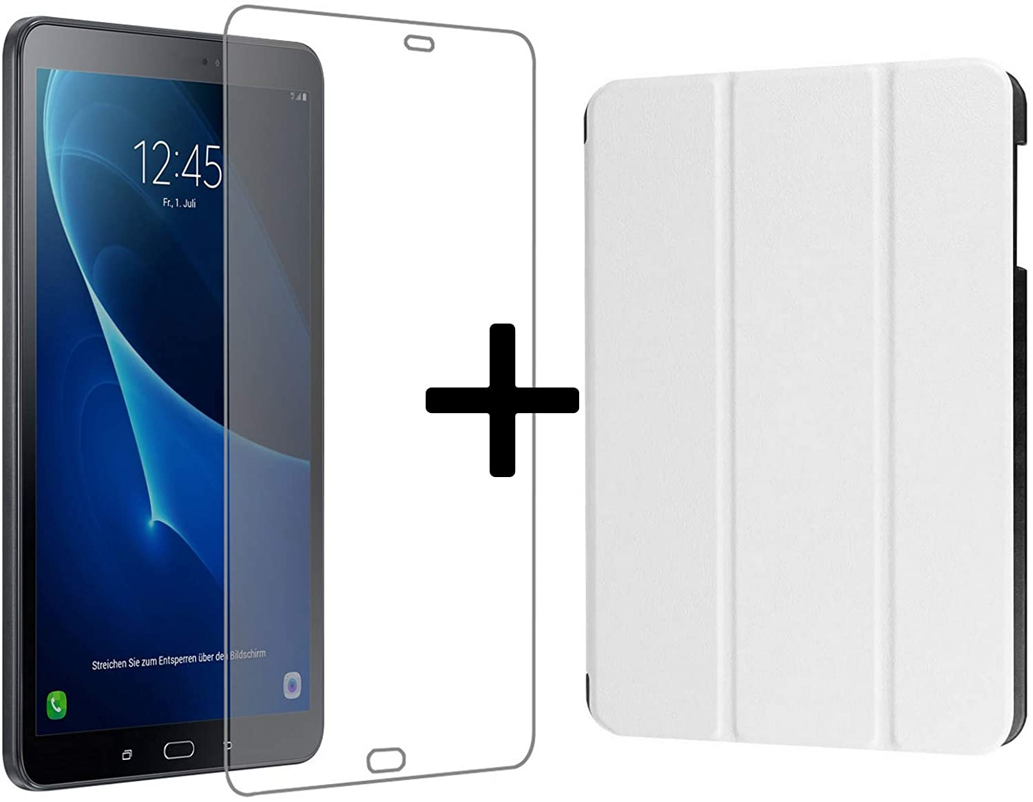 Lobwerk 3in1 Set for Samsung Galaxy Tab A 10.1 Inch SM-T580 T585 Tablet with Smart Case + Screen Protector + Stylus Pen with Auto Sleep/Wake White