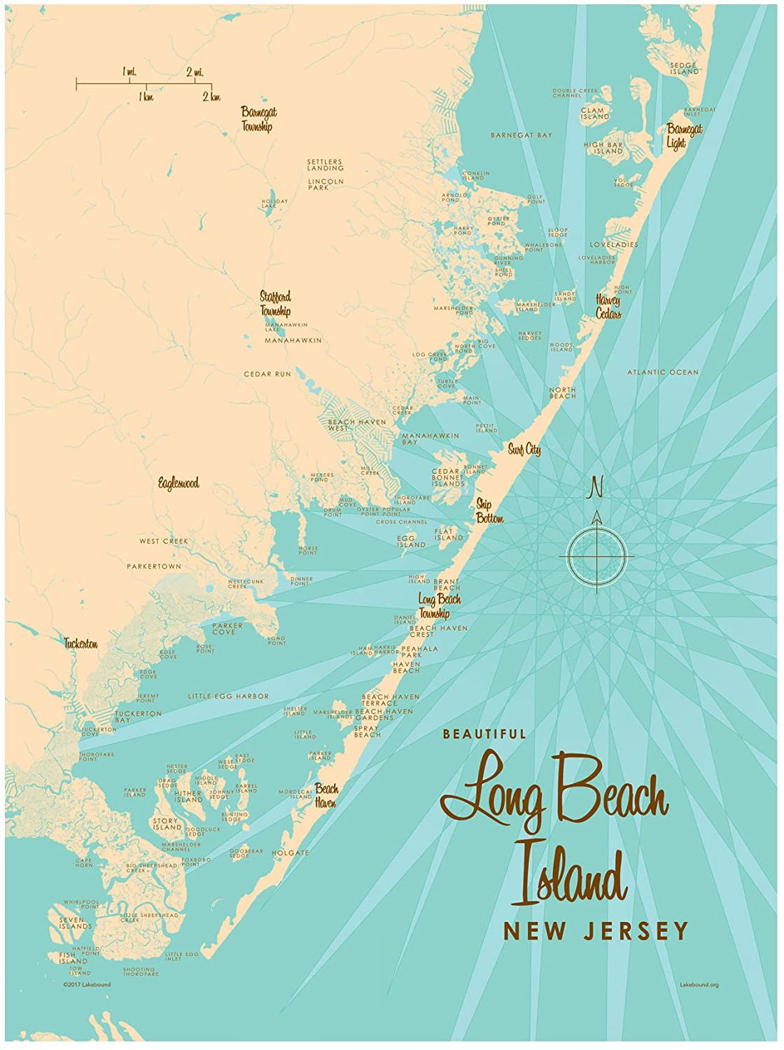 Long Beach Island, New Jersey Map Giclee Art Print Poster by Lakebound 9