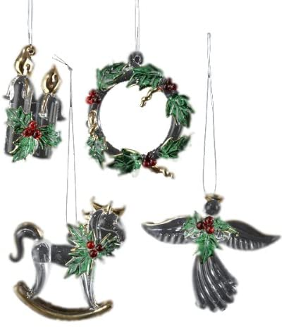 KSA Pack of 12 Holly Design Angel, Candle, Wreath & Horse Glass Christmas Ornaments