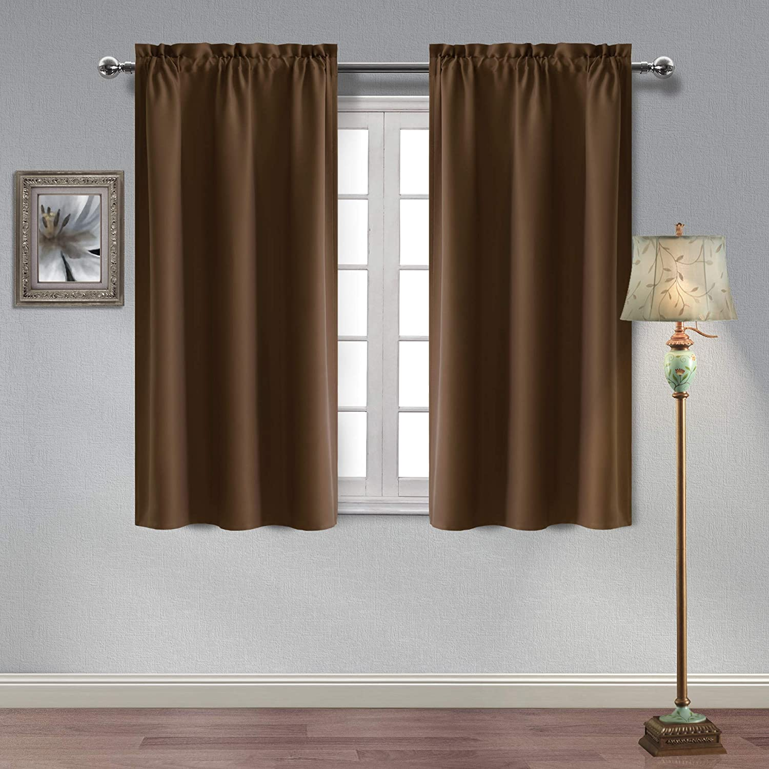 Hiasan Thermal Insulated Blackout Curtains for Bedroom Rod Pocket Sun Blocking and Energy Saving Room Darkening Window Curtains, 38 x 45 Inches Length, Brown, 2 Drape Panels