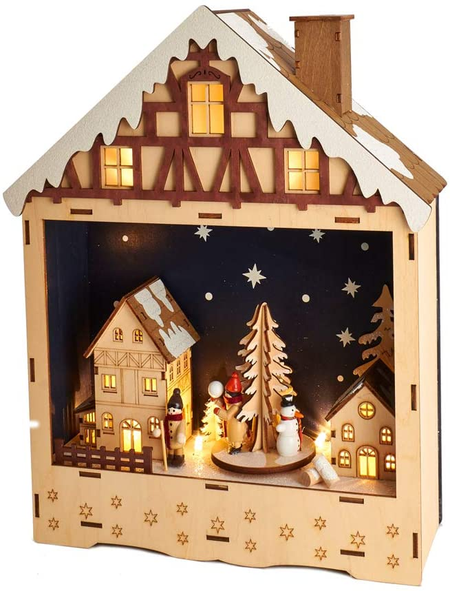 Kurt S. Adler Kurt Adler 13.5-Inch Battery-Operated Wooden Musical LED House Décor, Multi