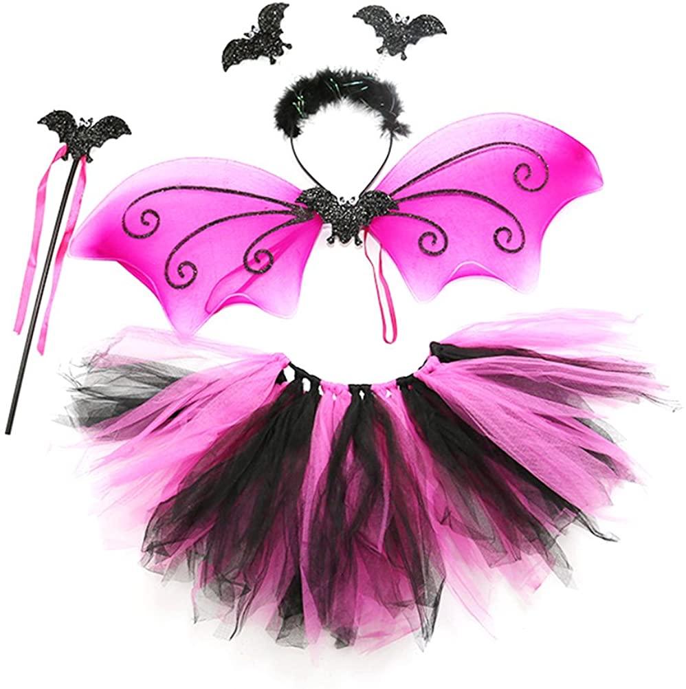BESTOYARD Bat Costumes Headband Wand Tutu Skirt Girls Fairy Dress Outfit for Cosplay Halloween Christmas Party Costumes 4pcs Pink